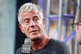 "Anthony Bourdain participates in the BUILD Speaker Series to discuss the online film series ""Raw Craft"" at AOL Studios on Wednesday, Nov. 2, 2016, in New York. (Photo by Andy Kropa/Invision/AP)"