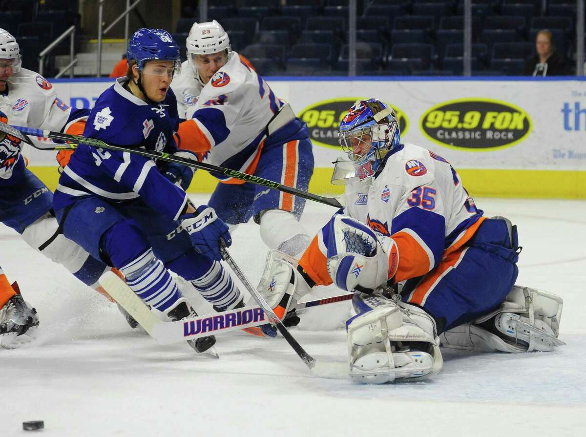 Sound Tigers goalie Stephon Williams (35) is 2-4 this season after two victories over the weekend.