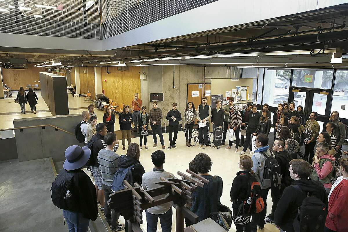 UC Berkley graduate students protest university rules surrounding sexual harassment investigations.