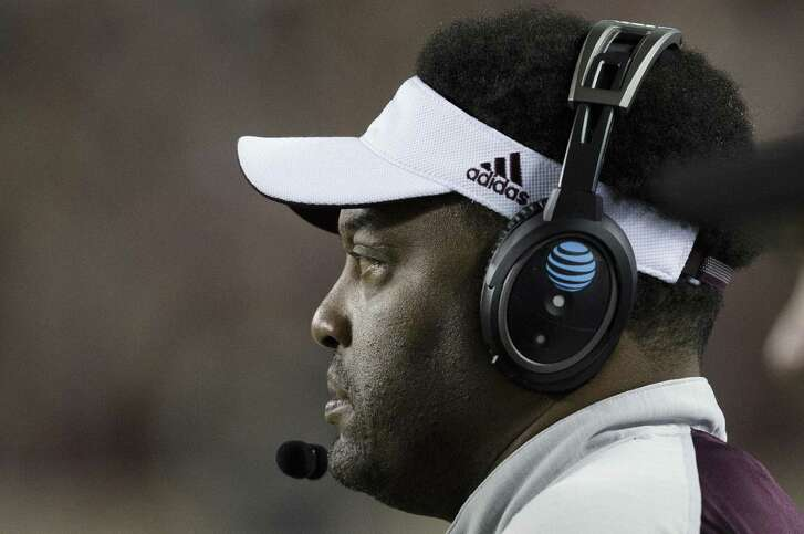 Texas A&M coach Kevin Sumlin looks on as Mississippi calls a play during the second quarter on Nov. 12, 2016, in College Station.