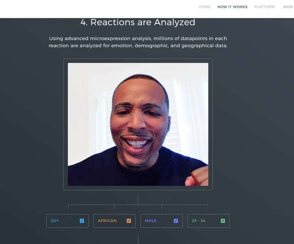 A screen grab from the Dumbstruck web site that shows how the company's facial recognition technology works to measure what a person is thinking about a marketing video. Source: Dumbstruck