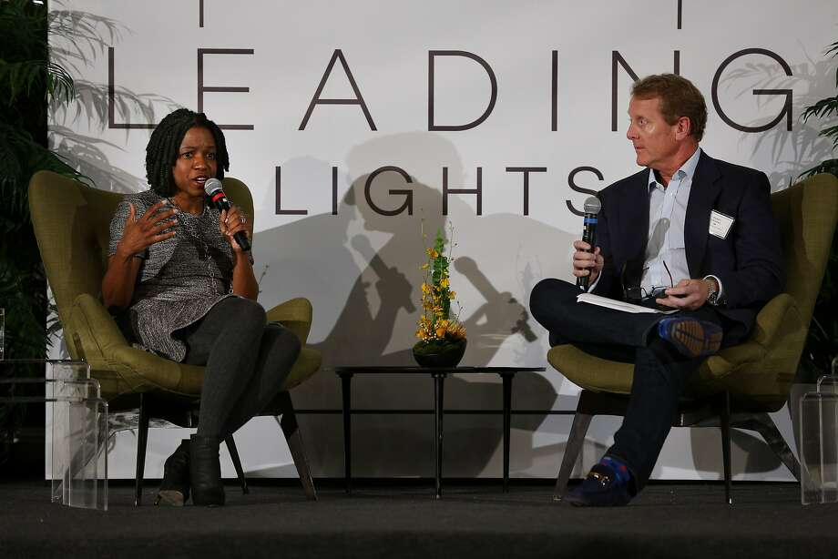 From left: Stacy Brown-Philpot, the CEO of TaskRabbit; and Barry Eggers, the founder and partner at Lightspeed Venture Partners, during a talk on Tuesday, Nov. 15, 2016 in San Francisco, Calif. The talk highlighted Brown-Philpot's career experiences. Photo: Santiago Mejia, The Chronicle