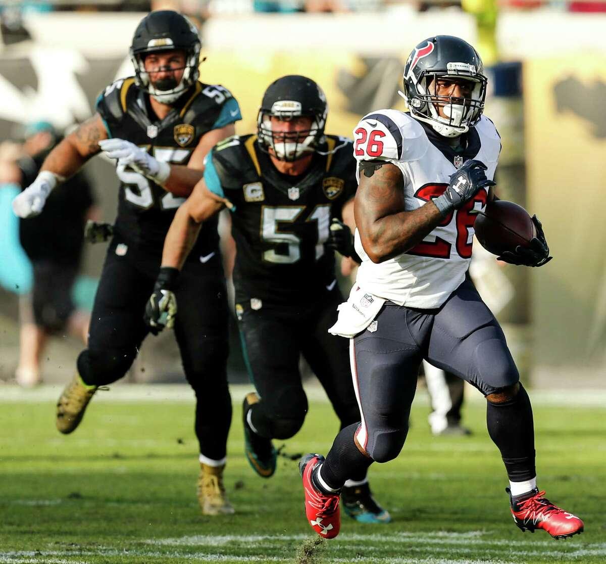 Lamar Miller had 83 of the Texans' 181 rushing yards against the Jaguars.