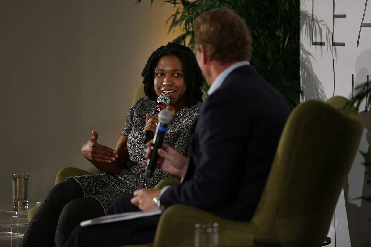 From left: Stacy Brown-Philpot, the CEO of TaskRabbit; and Barry Eggers, the founder and partner at Lightspeed Venture Partners, during a talk on Tuesday, Nov. 15, 2016 in San Francisco, Calif. The talk highlighted Brown-Philpot's career experiences.