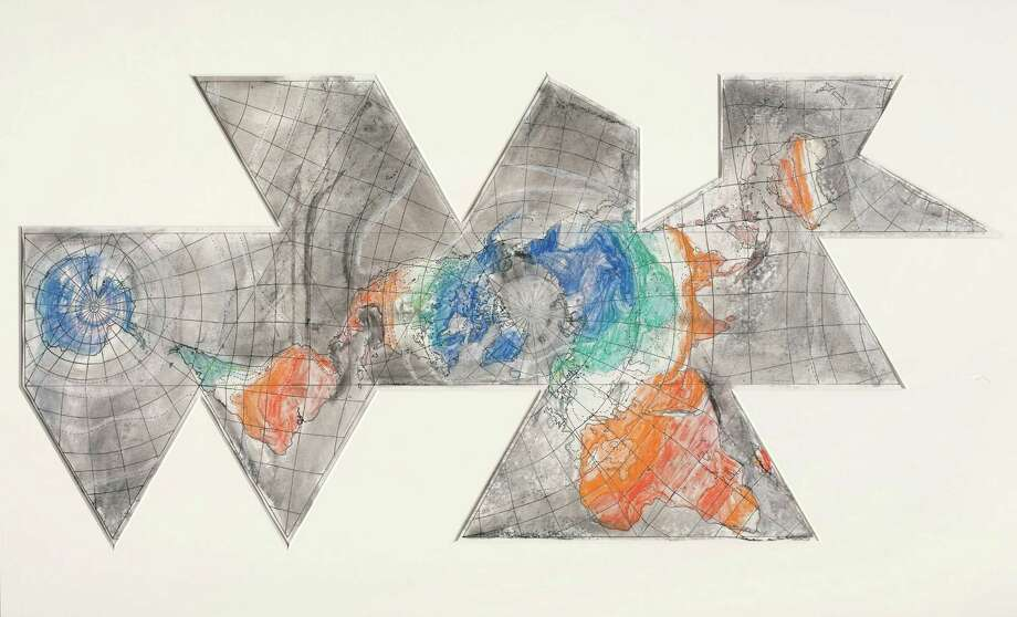"From ""The Condition of Being Here,"" the inaugural exhibition of the Menil Drawing Institute, opening Oct. 7, 2017: Jasper Johns, Study for 1st Version of Map (Based on Buckminster Fuller's Dymaxion Airocean World), 1967. Pastel over Photostat on paper, Image: 24 ½  x 51 3/16 in. (62.2 x 130 cm). The Menil Collection, Houston, Bequest of David Whitney. © Jasper Johns / VAGA, New York, NY Photo: The Menil Collection / © Jasper Johns / Licensed by VAGA, New York, NY"