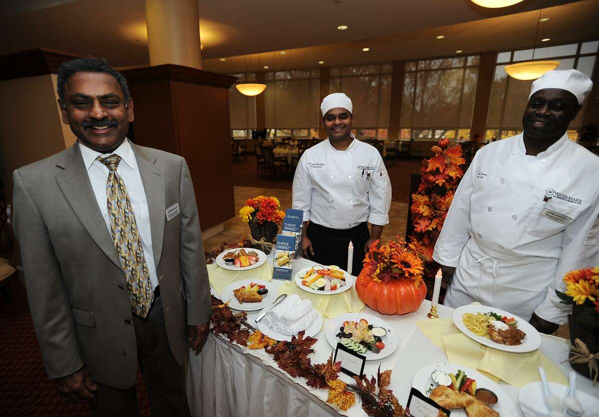 From left, Dining Services Director Pradheep Shankar, Sous Chef Sripal Reddy, and Executive Chef Michael Stevens developed the Thrive Dining menu for residents with memory loss at The Watermark at 3030 Park in Bridgeport. Thrive Dining meals are designed to be eaten without utensils but still incorporate all of the flavor, texture, and nutritional value of a traditional meal.