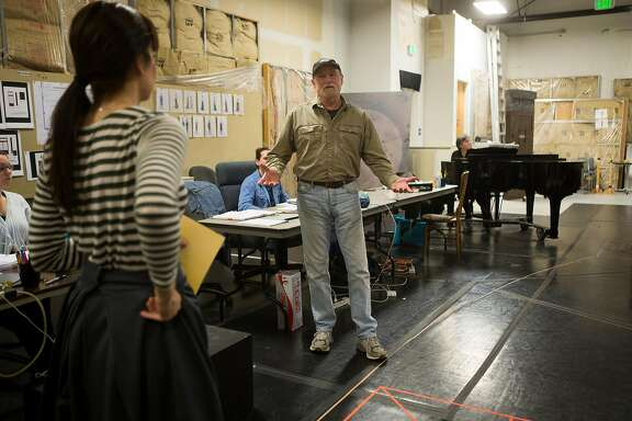 """TheatreWorks artistic director Robert Kelley talks with actors during rehearsal  for """"Daddy Long Legs"""" on November 15, 2016 in Redwood City, Calif."""