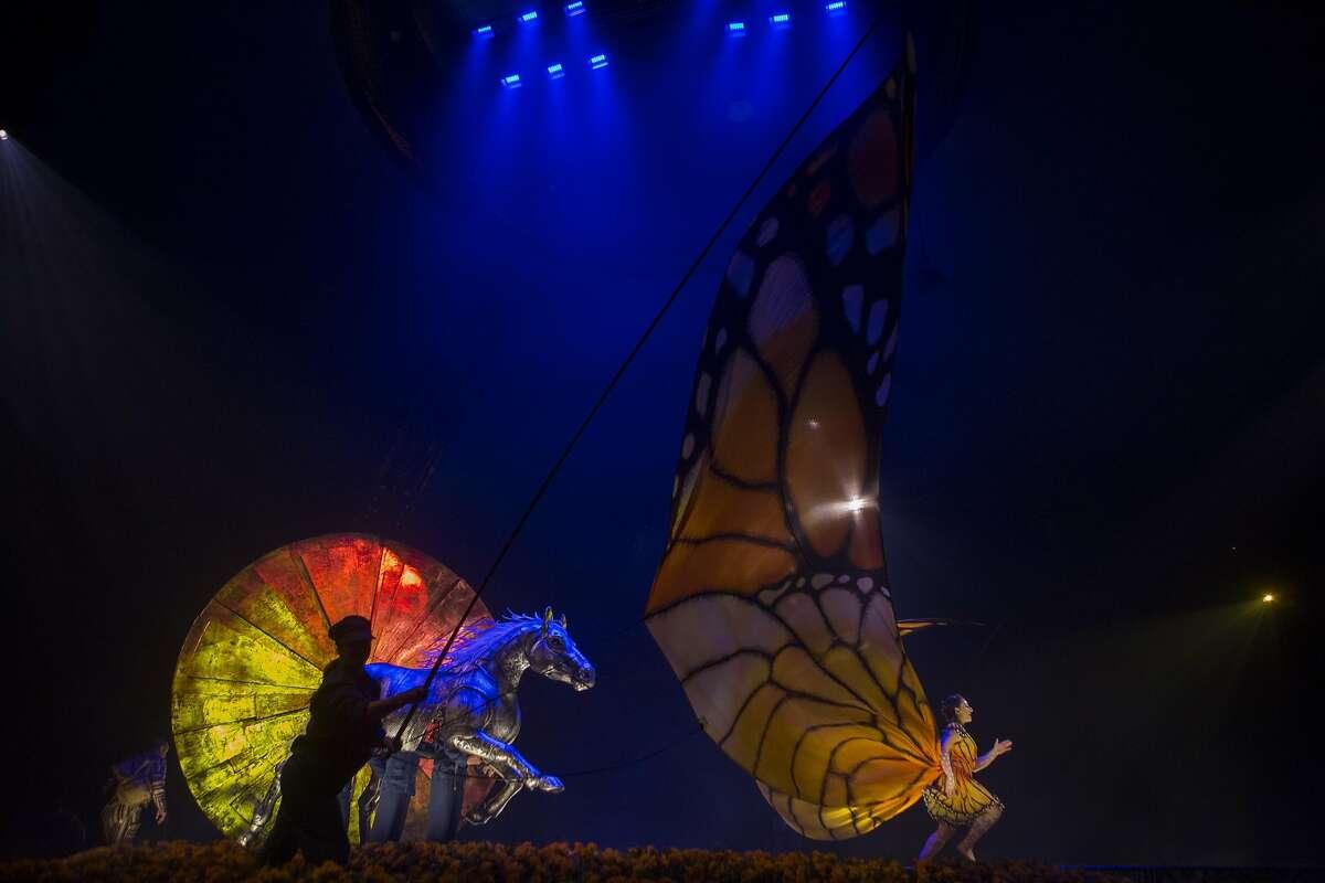 Shelli Epstein, of the United Kingdom, performs in Cirque du Soleil's Luzia on November 15, 2016 in San Francisco, Calif.