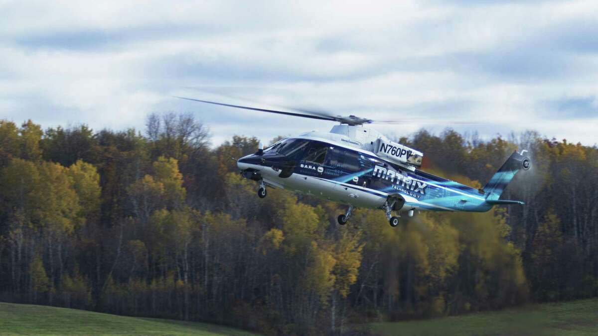 The unmanned Sikorsky Autonomy Research Aircraft prototype during November 2016 exercises at Griffiss International Airport in Rome, N.Y., with SARA flown alongside the Kaman K-MAX rotor drone, an Indago quadrotor and a Desert Hawk fixed-wing drone to demonstrate the system's capabilities in firefighting and rescue operations. Photo courtesy Lockheed Martin.