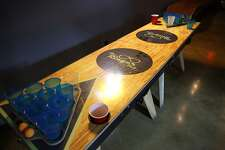 The souped-up beer pong table at The Ringer Pub, 2826 Thousand Oaks.