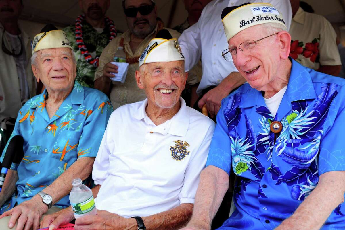 Navy veterans Thomas Nerkowski, 91, of Branford, Jack Stoeber, 96, of Milford, and Floyd Welch, 91, of East Lyme, attend a ribbon cutting ceremony for the new Pearl Harbor Memorial Bridge Friday, June 22, 2012 in New Haven, Conn.