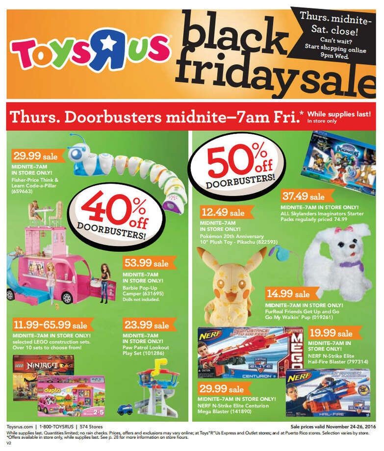 "Toys ""R"" Us released their Black Friday 2016 ad ahead of Thanksgiving week. The ad has deals starting 5 p.m. Thanksgiving day and going until Saturday at close time. Photo: Toys ""R"" Us"