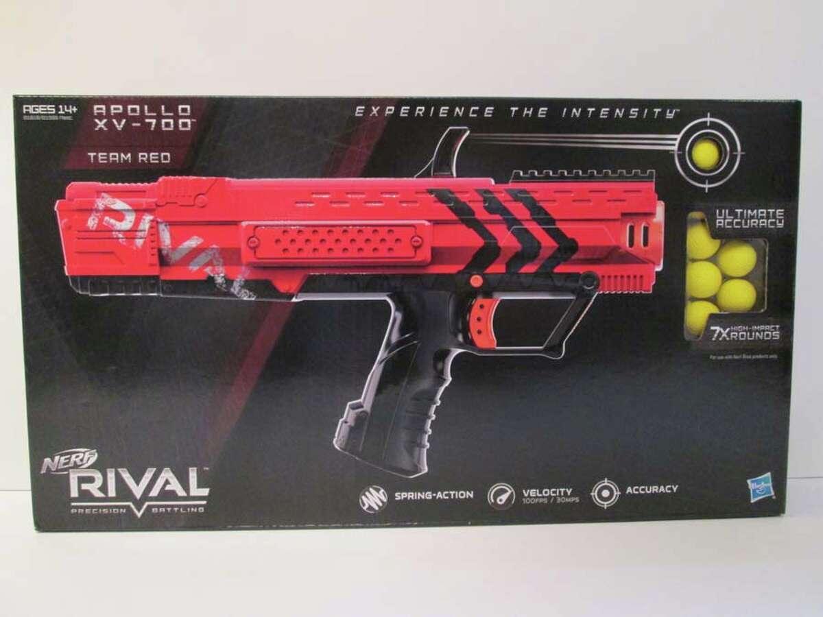 Nerf Rival: Apollo XV-700 Blaster Price: $34.48 Manufacturer or Distributor: Hasbro Retailer(s): Walmart.com, Target.com, Amazon.com, Kmart.com Age Recommendation: