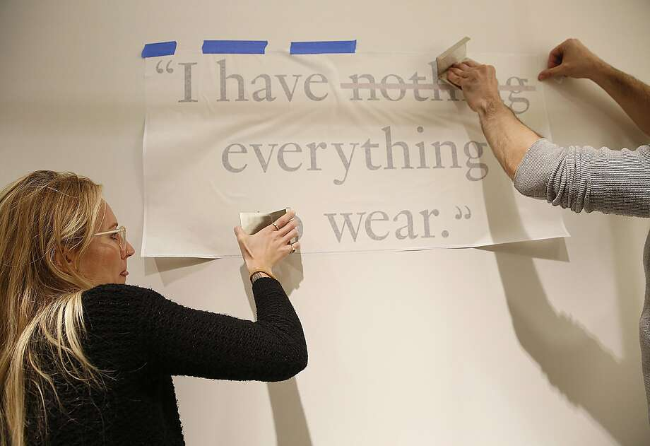 Branding quotes are applied to the showroom walls of the fall collection of Rent the Runway in the downtown Neiman Marcus on Wednesday, November 16, 2016, in San Francisco, Calif. It will open this Friday. Photo: Liz Hafalia, The Chronicle