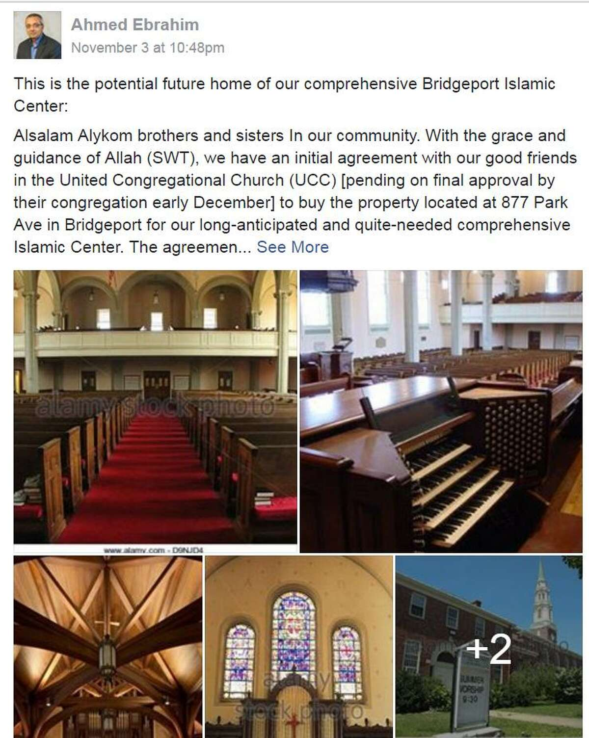 Ahmed Ebrahim, the leader of the Bridgeport Islamic Cultural Center, announced on the center's Facebook page that United Congregational Church was being considered as BICC's new home.