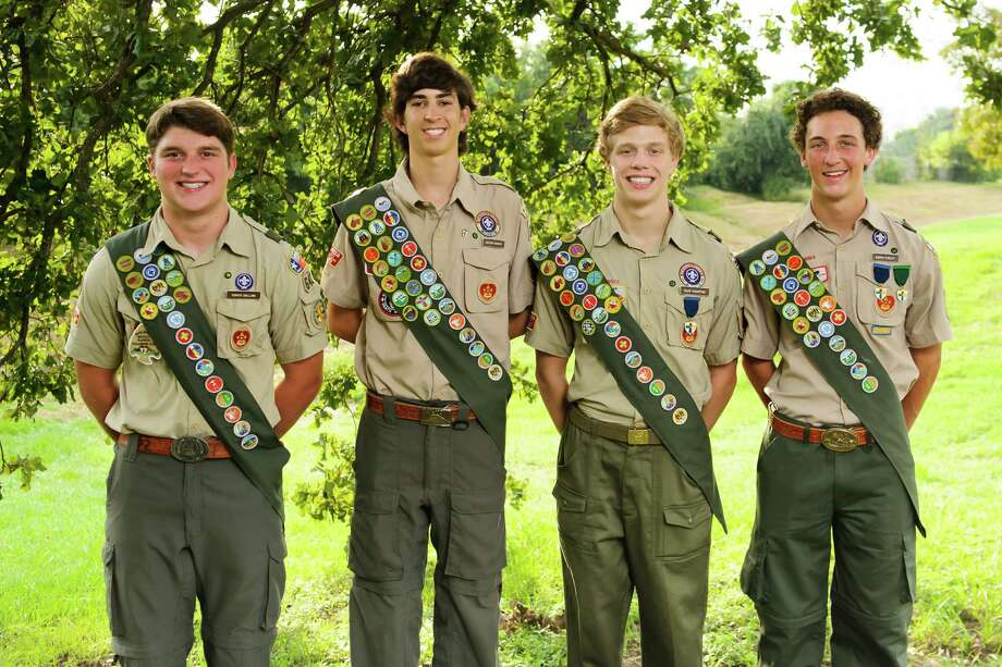 Turner Snelling, Carson Barker, Caleb Touchstone and Harris Cooley recently earned their Eagle Scout awards. Photo: Memorial Drive Presbyterian Church