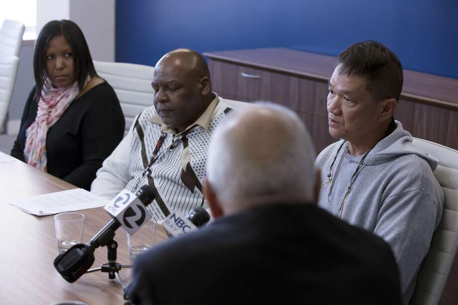 System architect Audrey Hatten-Milholin (left), communication engineer Robert Harrison and systems administrator Kurt Ho speak at a news conference where their lawsuit against UCSF was announced. Photo: D. Ross Cameron, Special To The Chronicle