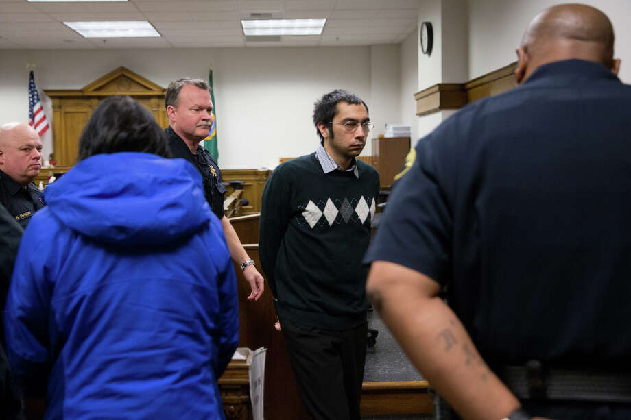 Aaron Ybarra leaves the courtroom following the reading of a guilty verdict for first-degree murder, three counts of attempted murder and one count of assault for a shooting at Seattle Pacific University in 2014, at King County Superior Court on Wednesday, Nov. 16, 2016. Photo: GRANT HINDSLEY, SEATTLEPI.COM / GRANT HINDSLEY