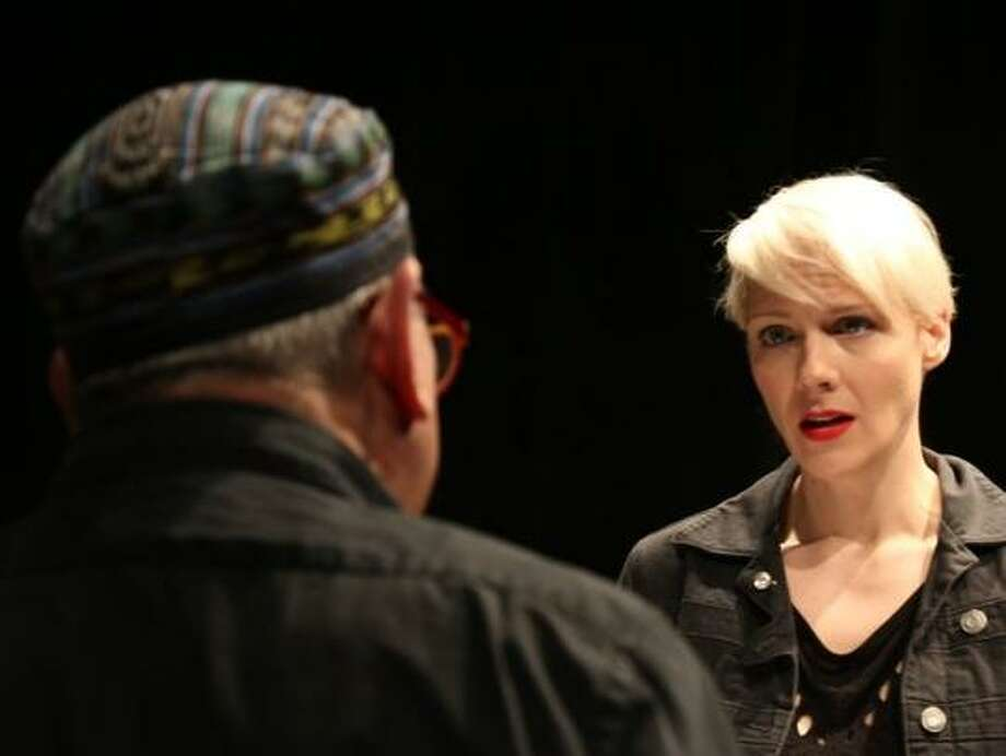 Madeline HD Brown plays a playwright, Louis Parnell a director. Photo: Jim Norrena / 3Girls Theatre / 2015