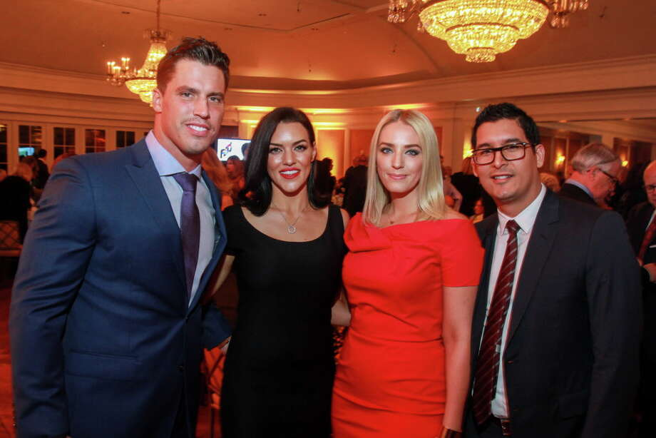 Megan and Brian Cushing, from left, with Abby and Chris Venegas at the Touchdown for TEACH gala.  (For the Chronicle/Gary Fountain, November 15, 2016) Photo: Gary Fountain, Gary Fountain/For The Chronicle / Copyright 2016 Gary Fountain