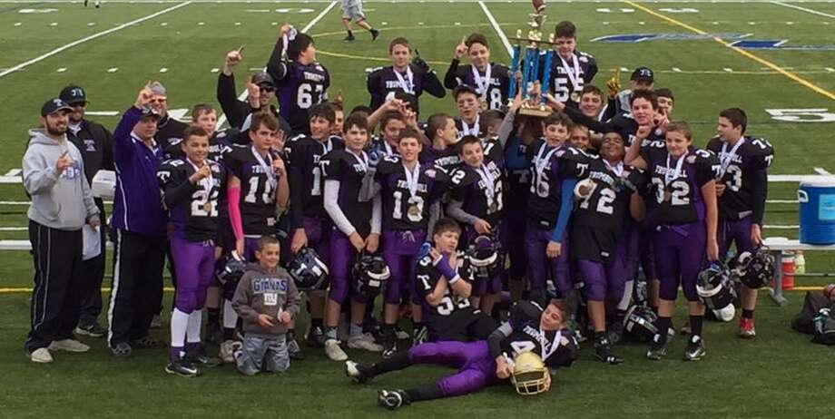 The Trumbull Pop Warner Rangers Junior Varsity Division 2 team successfully defended its state championship with an 8-6 victory over the Fairfield Giants earlier this month at Fairfield Ludlowe High School. This was a rematch from last year's championship game. Ray Leonzi's 15-yard touchdown run and Jack Wallace's PAT accounted for Trumbull's scoring. Trumbull advanced to Saturday's New England regional semifinals in Cranston, R.I., where it will play Warwick, R.I., at 12:30 p.m. Photo: Contributed / Contributed Photo / Connecticut Post Contributed
