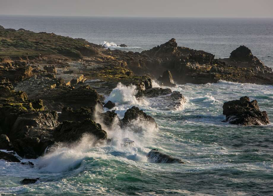 FORT ROSS, CA - FEBRUARY 10: Heavy surf slams against the rocks along the coastline near Salt Point State Park on February 10, 2016, near Fort Ross, California.