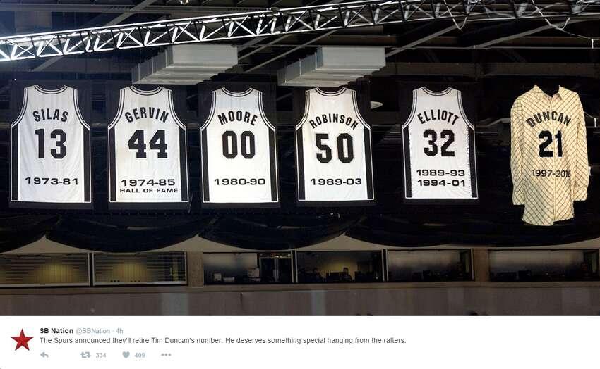 Spurs fans react to Tim Duncan's jersey retirement announcement.