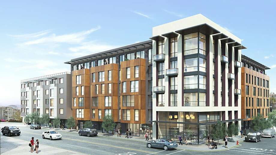 A rendering shows the 157-unit development proposed for 1515 S. Van Ness Ave. in S.F. The proposal was sent back to the Planning Department for review.