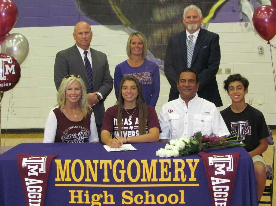 Montgomery High School Softball Player, Gabrielle Moreno, signed her letter of intent to play At Texas A & M University.  Gabrielle is pictured with her family, Mateo, Armando &elly Moreno.  Montgomery ISD personnel pictured are Athletic Director, Clint Heard, Head Coach Michelle Rochinski and Principal Phil Eaton. Photo: Photo Provided