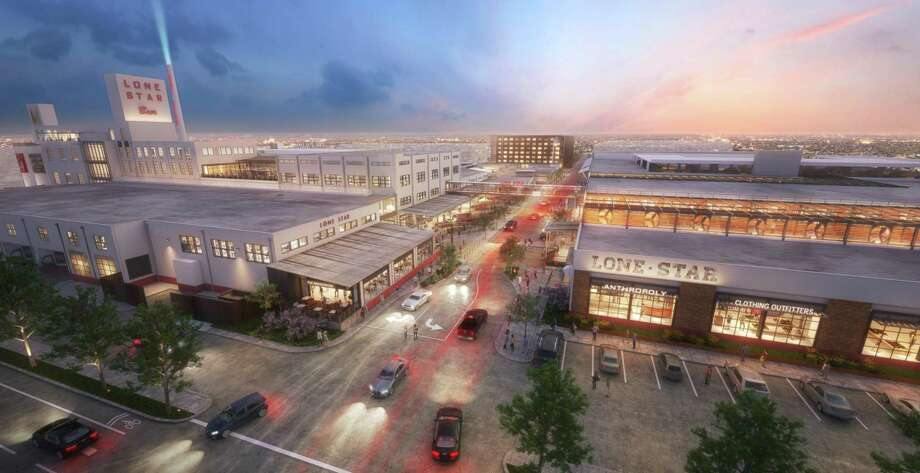 The $300 million plan to turn the abandoned Lone Star Brewery into a mixed-use development got a thumbs-up from the Zoning Commission today, the first of many steps in the city approval process. Photo: Richard Webner / Illustration Courtesy Of Aqualand Development And CBL & Associates Properties Inc.