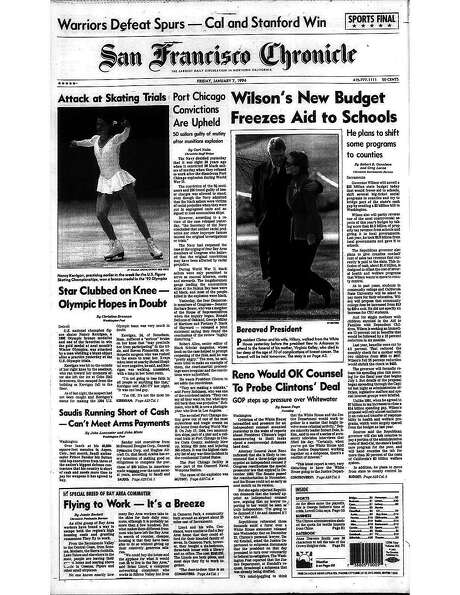 The Chronicle's front page from Jan. 7, 1994, covers the assault on Nancy Kerrigan ahead of the Olympics. Photo: The Chronicle 1997