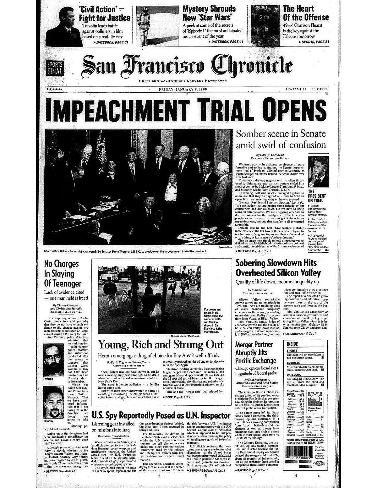 Historic Chronicle Front Pages January 8, 1999 President Bill Clinton's impeachment trial begins in the United States Senate Chron365, Chroncover