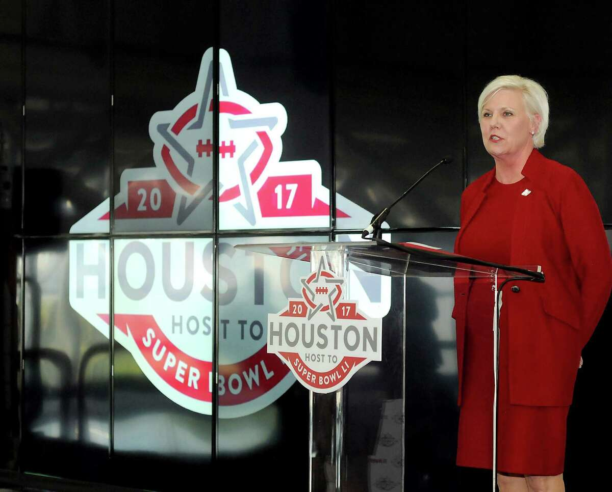 """Sallie Sargent, president and CEO of the Houston Super Bowl Host Committee, talks about the """"wow"""" factor for the Super Bowl Live Fan Festival during a press conference at SpaceCom at the George R. Brown Convention Center Wednesday Nov. 16, 2016. The announcement was for a one-of-a-kind virtual reality ride with a 90-foot drop tower titled Future Flght which will be at Discovery Green Park.(Dave Rossman photo)"""