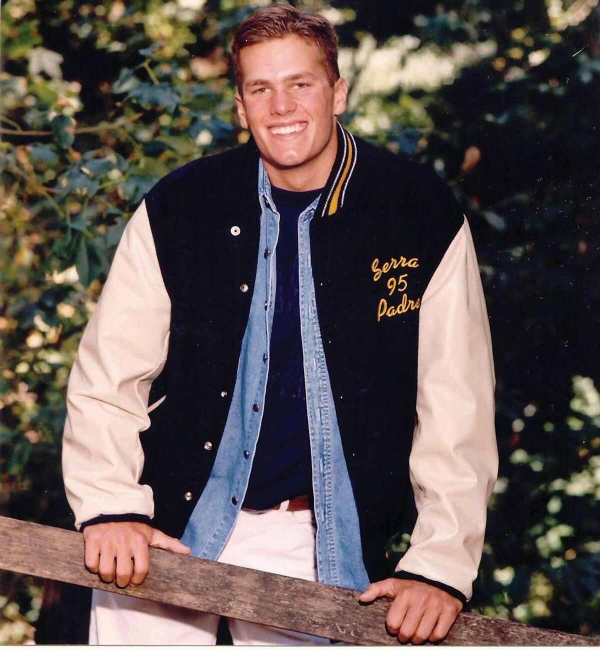 Tom Brady in a Varsity letterman's jacket while he attended Junipero Serra High School in San Mateo, California. (Courtesy Junipero Serra High School, San Mateo)
