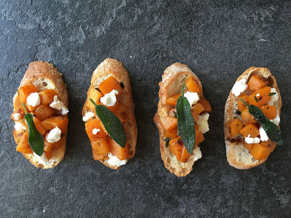 Butternut squash crostini with goat cheese and fried sage