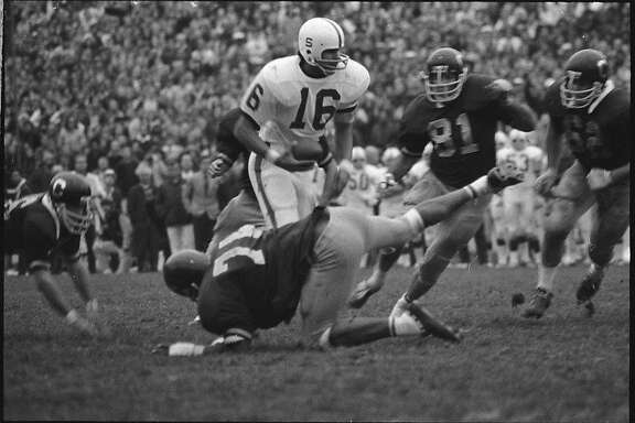 Stanford QB Jim Plunkett during the Big Game 1970.  Photo was taken in 1970.
