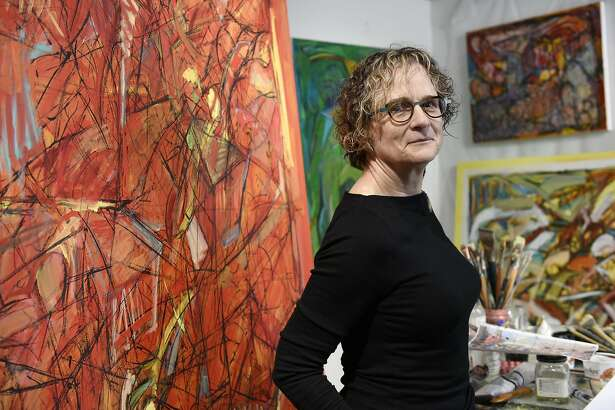 Louise Victor poses for a portrait in her studio inside the Industrial Center Building in Sausalito, CA Wednesday, November 16, 2016.