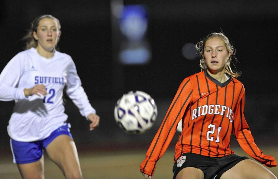 Class LL girls soccer semifinals game between Suffield and Ridgefield high schools, on Wednesday night, Novemebr 16, 2016, at Middletown High School, Middletown, Conn. Ridgefield defeated Suffield 3-0. Photo: H John Voorhees III / Hearst Connecticut Media / The News-Times