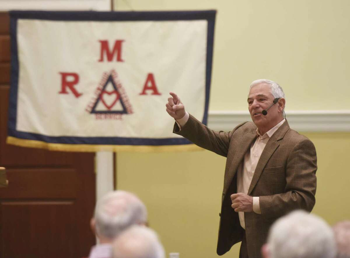 Former Major League Baseball player and manager Bobby Valentine speaks during the Retired Men's Association weekly speaker series at First Presbyterian Church in Greenwich on Wednesday.