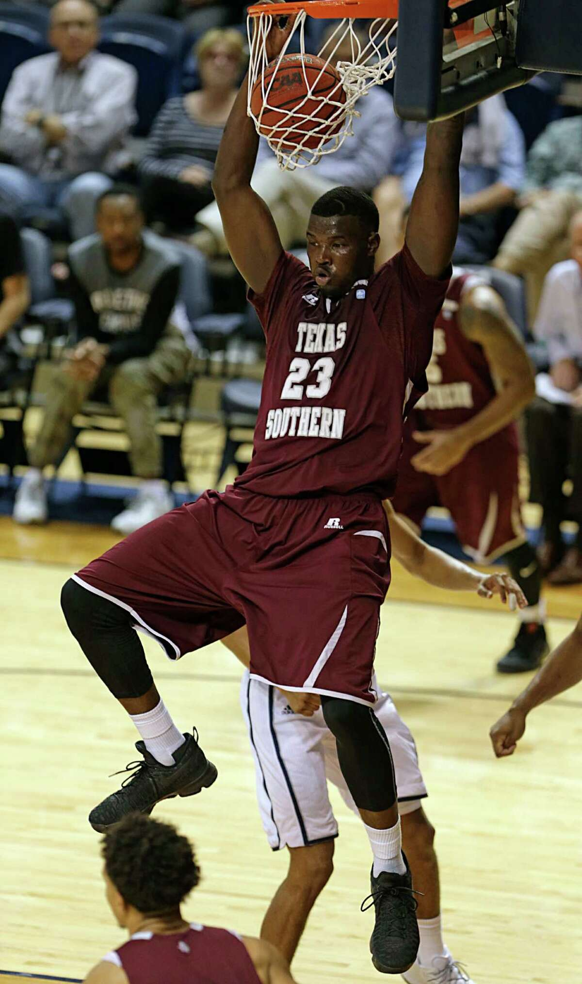 TSU's Derrick Griffin slam home two of his 16 points.