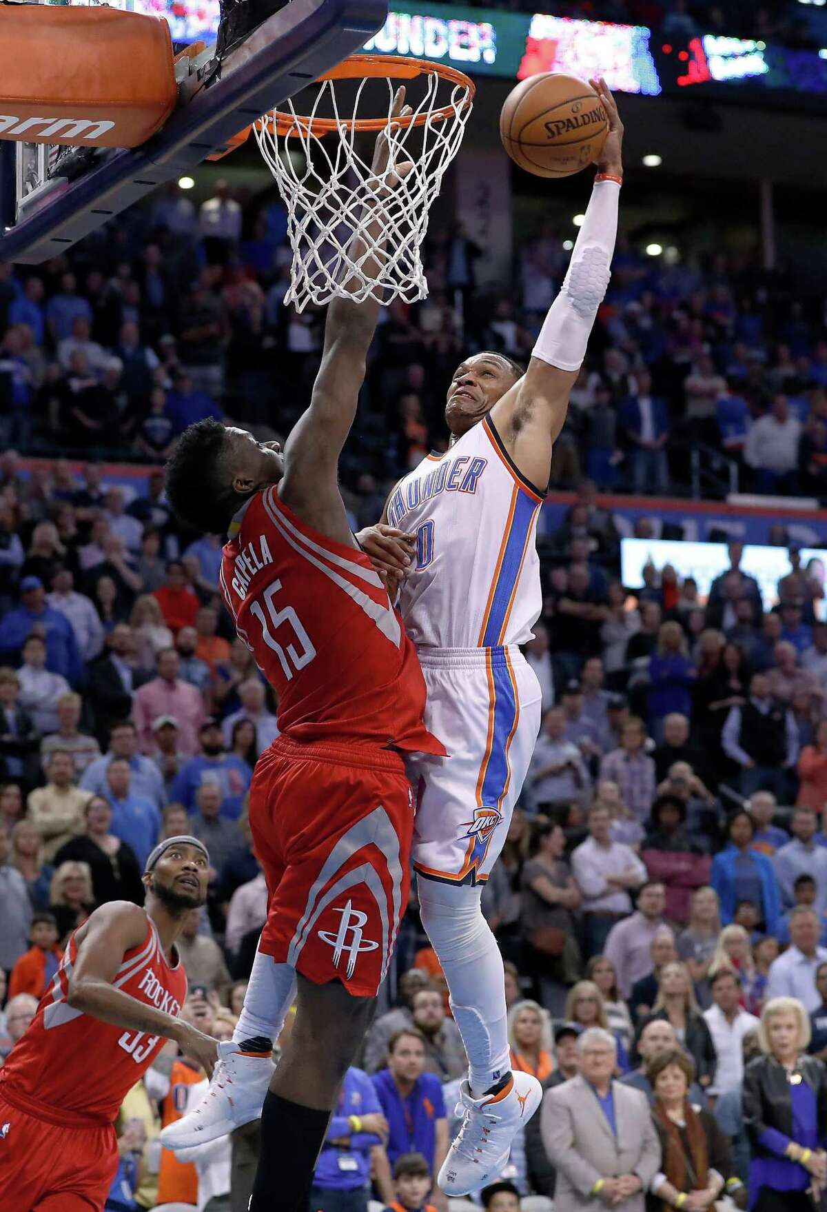 In its last two minute report from Wednesday's Rockets-Thunder game, the NBA ruled the Rockets should have had the ball instead of the Thunder on this play where Russell Westbrook scored the game-clinching dunk.