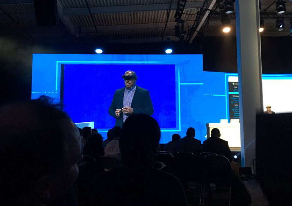 Colin Parris, vice president of GE Software Research, demonstrates the use of a Microsoft Hololens Wed., Nov. 16, 2016 at the GE Minds + Machines conference in San Francisco.