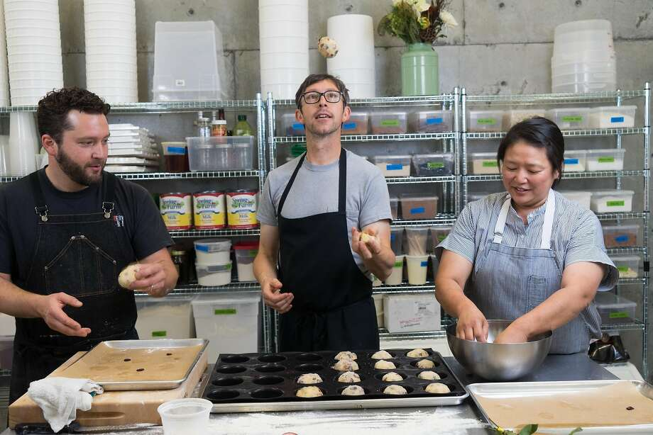 Left to right, Ben Spungin, Ron Mendoza and Yulanda Santos make cookies at Revival Ice + Cream in Monterey. Photo: James Tensuan, Special To The Chronicle
