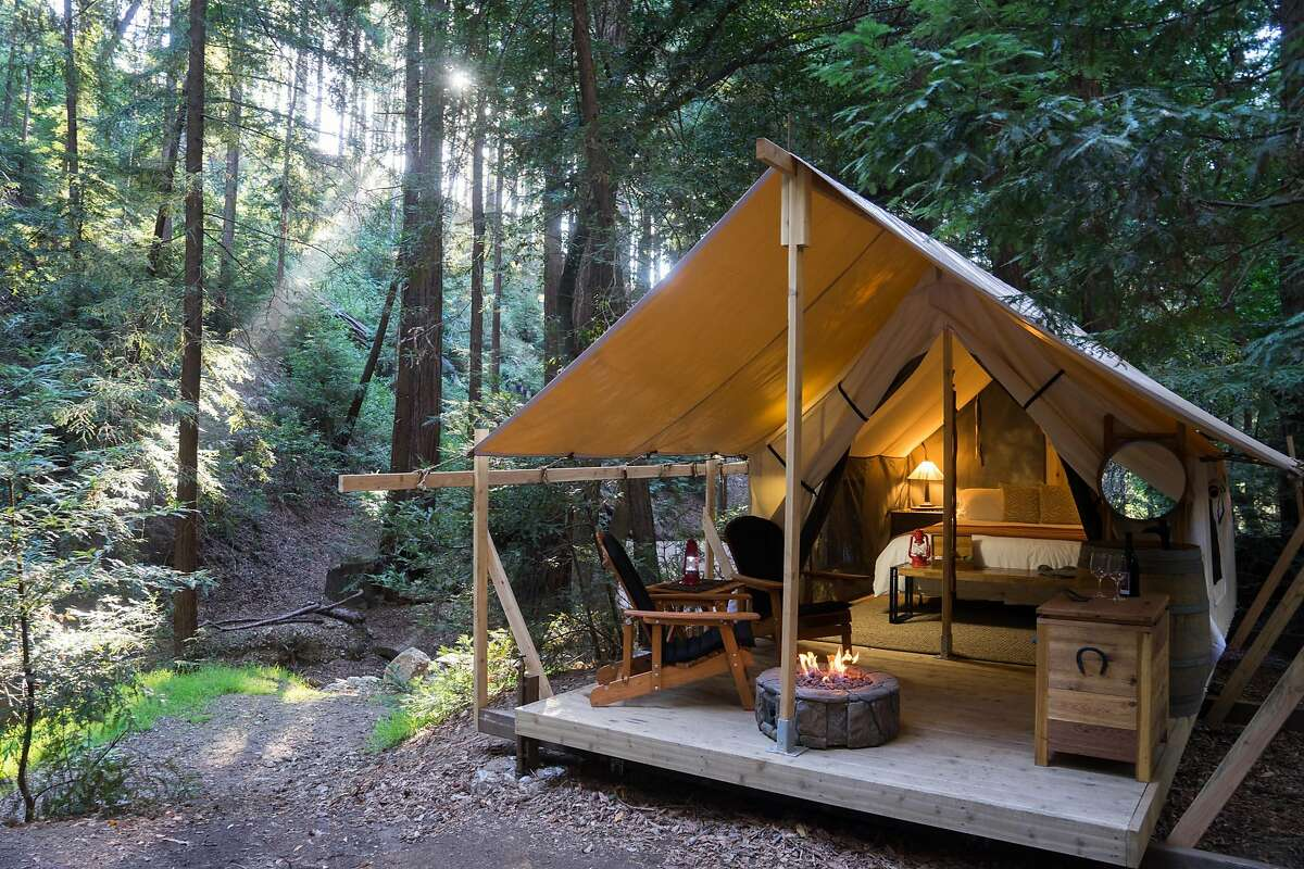 Ventana, Big Sur If you're looking for a place to stay in Big Sur, Ventana is now offering luxury camping. The sites include a tent cabin, teak-enclosed showers, heated floors, full hotel amenities and marble vanities. The hotel's tagline is