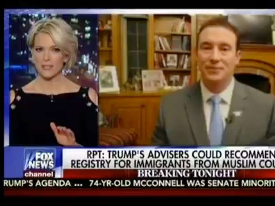 """Megyn Kelly and Carl Higbie, a former Navy SEAL on Fox News's """"The Kelly File"""" program on Wednesday night. Photo: FOX News"""