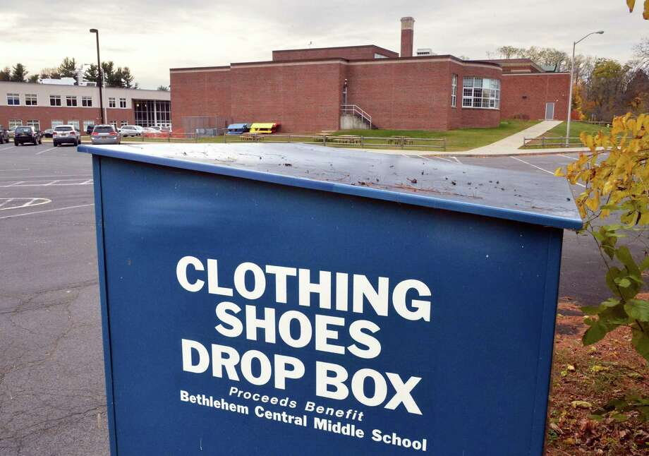 A metal bin that accepts textile donations at Bethlehem Central Middle School in Delmar, NY.  (John Carl D'Annibale / Times Union) Photo: John Carl D'Annibale / 00029470A