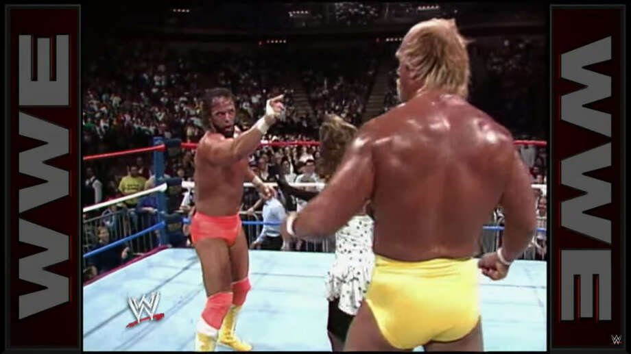 """1989: Royal Rumble goes wrongHulk Hogan argued with Randy """"Macho Man"""" Savage during the World Wrestling Federation's Royal Rumble event at the Summit in Houston, Texas on Jan. 15, 1989. Savage yelled at Hogan after the latter accidentally knocked him out of the ring during the Royal Rumble match. Photo: WWE"""