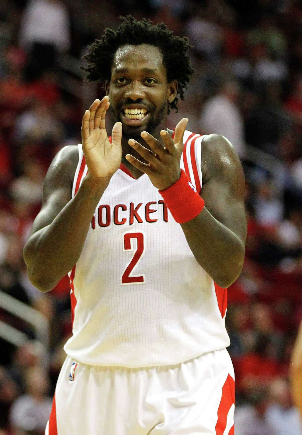 Houston Rockets guard Patrick Beverley (2) reacts during the first half of an NBA basketball game at Toyota Center, Thursday, March 31, 2016, in Houston. ( Karen Warren / Houston Chronicle )