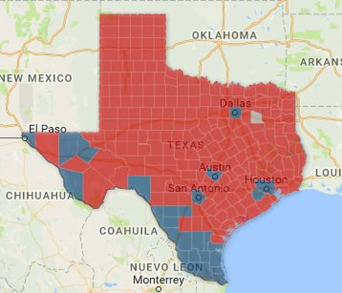The map illustrates which counties in Texas went red (Republican) and which ones went blue (Democratic) in the 2016 presidential election. Houston's Harris County was one of the few Texas counties to go blue.