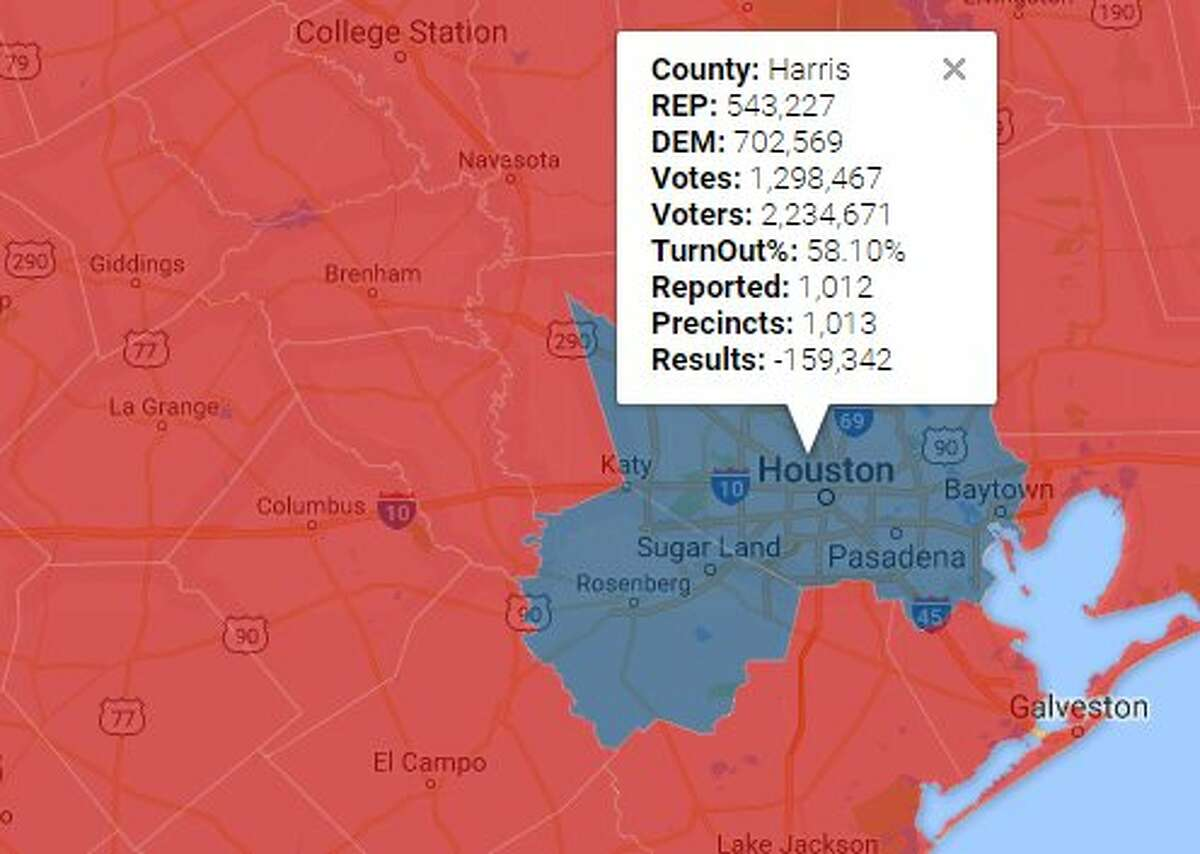The map shows the figures for Harris County in the 2016 presidential election. Harris County was one of the few Texas counties to go blue (democratic) in the election.